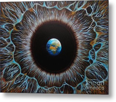 Metal Print featuring the painting World Vision by Paula L