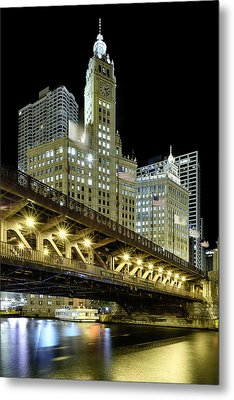 Metal Print featuring the photograph Wrigley Building At Night by Sebastian Musial