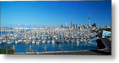 Yachts At Waitemata Harbor, Sky Tower Metal Print by Panoramic Images