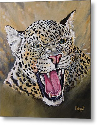 Metal Print featuring the painting Yawn by Anthony Mwangi