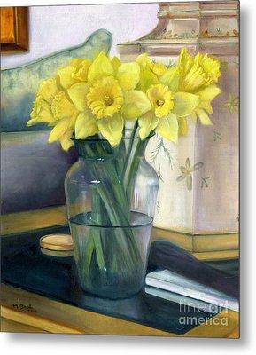 Yellow Daffodils Metal Print by Marlene Book