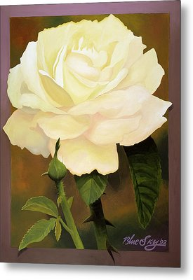 Yellow Rose Metal Print by Blue Sky