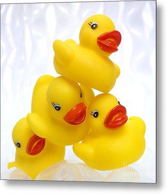 Yelow Ducks Metal Print by Bernard Jaubert