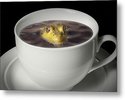 Yikes There Is A Frog In My Java Metal Print by Randall Nyhof