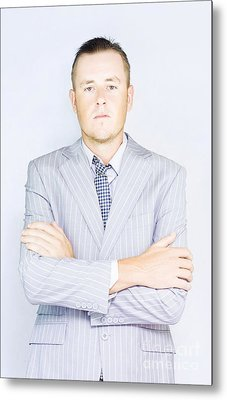 Young Businessman Front View Metal Print