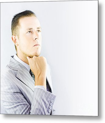 Young Businessman Looking Thoughtful Metal Print