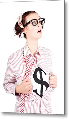 Young Businesswoman Super Hero Showing Dollar Sign Metal Print