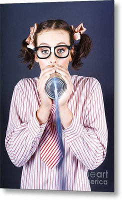Young Businesswoman Talking On Homemade Can Phone Metal Print by Jorgo Photography - Wall Art Gallery