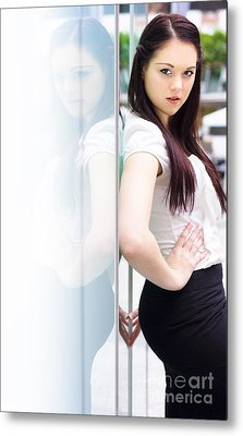 Young Career Smart Business Woman Turning Heads Metal Print by Jorgo Photography - Wall Art Gallery