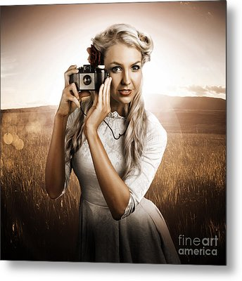 Young Female Photographer With Vintage Camera Metal Print by Jorgo Photography - Wall Art Gallery