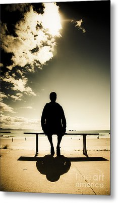 Young Man In Silhouette Sitting In The Sun Metal Print by Jorgo Photography - Wall Art Gallery
