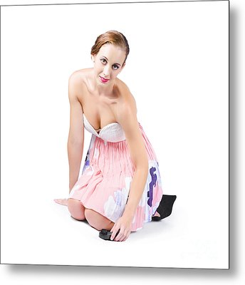 Young Woman Cleaning Floor Metal Print by Jorgo Photography - Wall Art Gallery