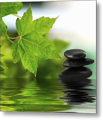 Zen Stones On Water Metal Print