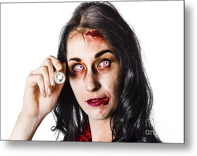 Zombie Woman Holding Flashlight On White Metal Print by Jorgo Photography - Wall Art Gallery