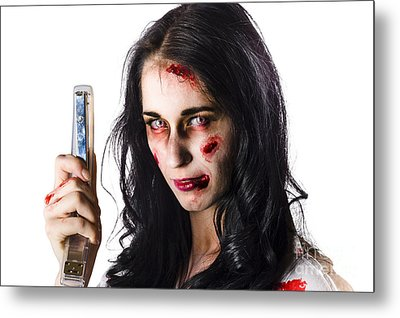Zombie Woman With Stapler Metal Print by Jorgo Photography - Wall Art Gallery