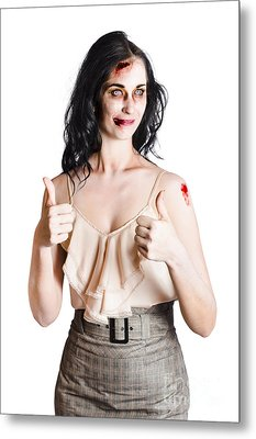 Zombie Woman With Thumbs Up Metal Print