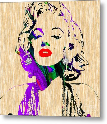 Marilyn Monroe Diamond Earring Collection Metal Print by Marvin Blaine
