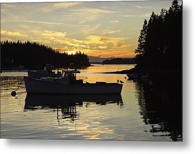 Port Clyde Maine Fishing Boats At Sunset Metal Print by Keith Webber Jr