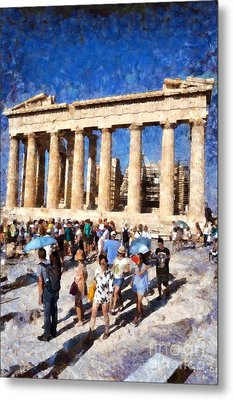 Tourists In Acropolis Of Athens In Greece Metal Print