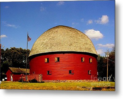 Metal Print featuring the photograph 100 Year Old Round Red Barn  by Janette Boyd