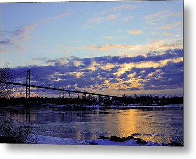 1000 Island Bridge Sunrise Metal Print by David Simons