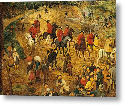 Ascent To Calvary, By Pieter Bruegel Metal Print