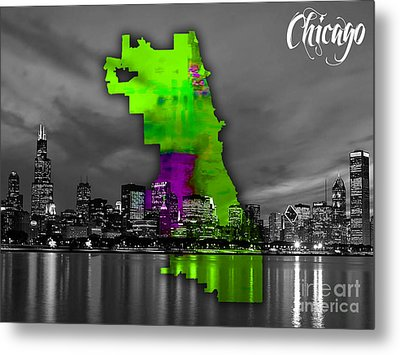 Chicago Map And Skyline Watercolor Metal Print by Marvin Blaine