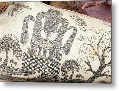 Ink Scrimshaw On Dolphin Skull Metal Print