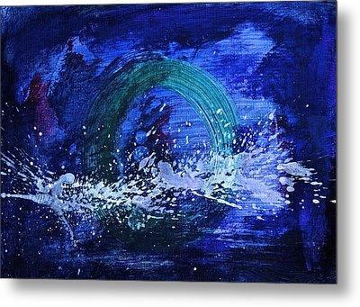 Metal Print featuring the painting White Splash by Tracey Myers