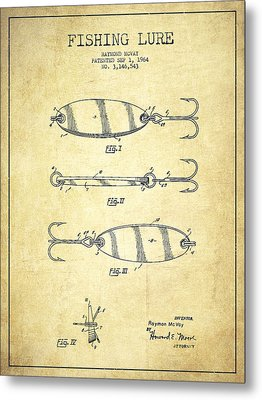 Vintage Fishing Lure Patent Drawing From 1964 Metal Print by Aged Pixel