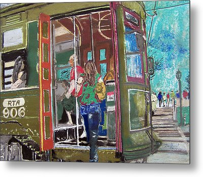 111708 New Orleans Street Car  Metal Print by Garland Oldham