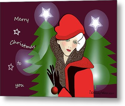 1126 - Merry Christmas Card ... Metal Print by Irmgard Schoendorf Welch