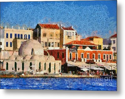 Painting Of The Old Port Of Chania Metal Print