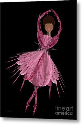 12 Pink Ballerina Metal Print by Andee Design