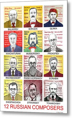 12 Russian Composers Metal Print by Paul Helm