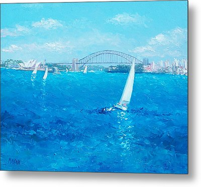 Sydney Harbour Sail Boats And The Opera House By Jan Matson Metal Print