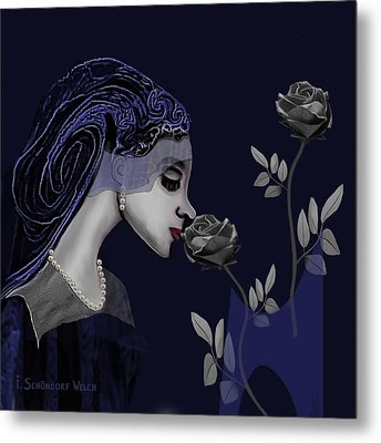 126 - A Young Woman With Roses ... Metal Print by Irmgard Schoendorf Welch