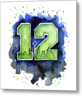 12th Man Seahawks Art Seattle Go Hawks Metal Print by Olga Shvartsur