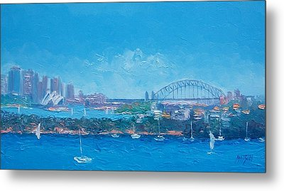 Sydney Harbour And The Opera House By Jan Matson Metal Print