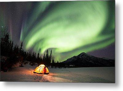 Aurora Borealis In Alaska Metal Print
