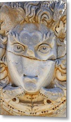 Sculpted Medusa Head At The Forum Of Severus At Leptis Magna In Libya Metal Print by Robert Preston
