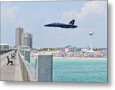Blue Angels On Pensacola Beach Metal Print by Specialist 2nd Class Andrea Perez