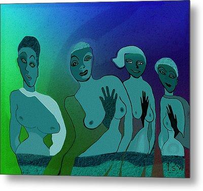 154 -  Blue Green Ladies   Metal Print