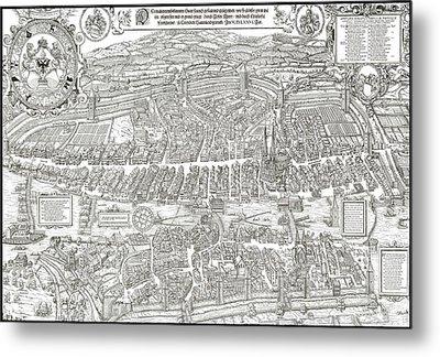 1576 Zurich Switzerland Map Metal Print by Daniel Hagerman