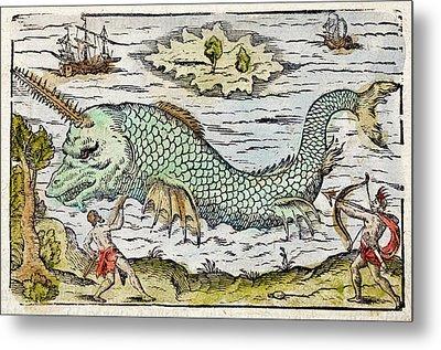 1582 Sawfish Pristis As Sea Unicorn Metal Print by Paul D Stewart