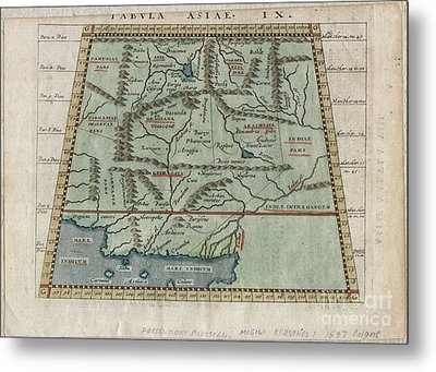 1597 Ptolemy  Magini  Keschedt Map Of Pakistan Iran And Afghanistan Metal Print by Paul Fearn