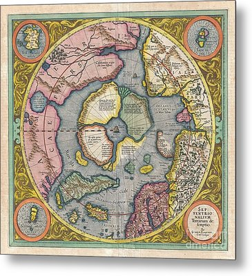 1606 Mercator Hondius Map Of The Arctic Metal Print by Paul Fearn