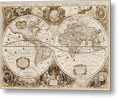 1630 Antique World Map Metal Print by Dan Sproul