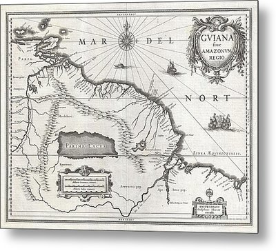 1635 Blaeu Map Guiana Venezuela And El Dorado Metal Print by Paul Fearn