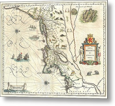 1635 Blaeu Map Of New England And New York Metal Print by Paul Fearn